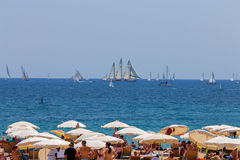 Barcelona. City Beach. Barcelona, Spain - July 15, 2016 : People rest on beach in the area Pablenou. Barcelona. Spain Royalty Free Stock Photos