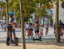 Barcelona. City Beach. Barcelona, Spain - July 15, 2016 : People rest on beach in the area Pablenou. Barcelona. Spain Royalty Free Stock Photography