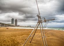Barcelona city beach a stormy day. With a lot of waves, rain and great weather Royalty Free Stock Photos