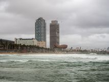 Barcelona city beach a stormy day. With a lot of waves, rain and great weather Stock Photography