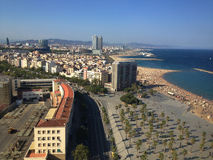 Barcelona city and beach view. From the Port Vell Aerial Tramway Royalty Free Stock Photos