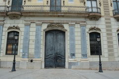 Barcelona city building. With a big black front door Royalty Free Stock Images