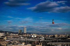 Barcelona city and cable car Stock Photos