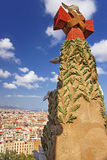 Barcelona city center and the tower top of Sagrada Familia Cathe Royalty Free Stock Images