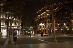 Barcelona City Centre at Night Royalty Free Stock Photos