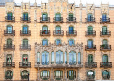 Barcelona city facade with balconade Stock Photography