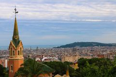 Cityscape of Barcelona, taken near Parc Guell in June 2018 stock photos