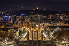 Barcelona city lights in Montjuïc royalty free stock photos