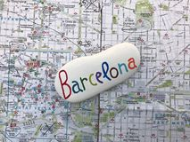 Barcelona city map with a unique stone souvenir Royalty Free Stock Photos