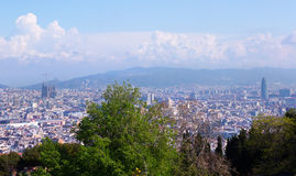 Barcelona city from Monjuic. Catalonia Royalty Free Stock Images