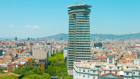 Barcelona city panorama establishing shot typical Spanish building. Barcelona City in Catalonia, Spain, Europe. Shot in RAW 4k stock footage