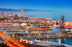 Barcelona city and Port in evening. Catalonia, Spain royalty free stock photos