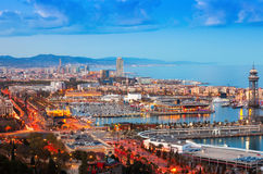 Barcelona city with Port in night. Time. Catalonia, Spain stock photo