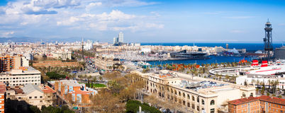Barcelona city with Port Vell from Montjuic Stock Image