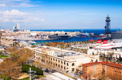 Barcelona city with Port Vell from Montjuic hill Royalty Free Stock Photo