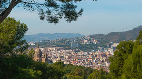 Barcelona city`s urban sprawl.   Cityscape view through trees of nearby park. Royalty Free Stock Images