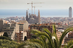 Barcelona city scape seen from Parque Guell Stock Image
