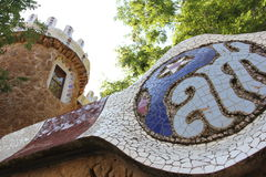 Barcelona Spain. Park Guell of Gaudi architect Stock Photos