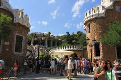 The Barcelona city sightseeings, Spain. tourists in Parc Güell of Gaudi architect Royalty Free Stock Photography