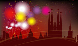 Barcelona City Silhouette, Celebration, Fireworks Stock Image
