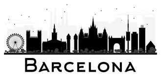 Barcelona City skyline black and white silhouette. Royalty Free Stock Photos