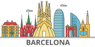 Barcelona city skyline. Buildings, streets, silhouette, architecture, landscape, panorama, landmarks. Editable strokes. Flat design line vector illustration Royalty Free Stock Photos