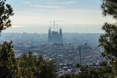 Barcelona city skyline at day time with a Sagrada Familia silhouette, Spain. Barcelona, Spain - March 28, 2018: Barcelona city skyline at day time with a Sagrada royalty free stock photography