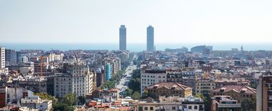 Barcelona city skyline royalty free stock photos