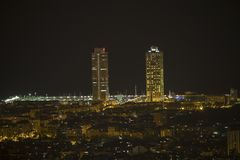 Barcelona city skyline. At night stock images