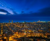 Barcelona city skyline. In night time with star and sea background, Barcelona, Spain, Europe royalty free stock photos