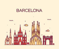 Barcelona City skyline Trendy vector line art. Barcelona City skyline detailed silhouette Trendy vector illustration line art style Stock Photos
