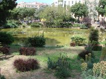Barcelona city. Spain. City landscape and park views of the city. The landscape of the park in the central area of the city surrounded by royalty free stock images