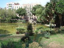Barcelona city. Spain. City landscape and park views of the city. The landscape of the park in the central area of the city surrounded by royalty free stock photos