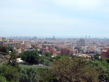Barcelona city. Spain. City landscape and park views of the city. Panorama from the height of the park area of an infinitely large city, united stock photography