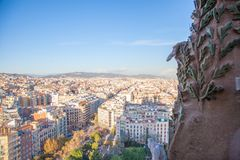 Barcelona City, Spain. View from Sagrada Família. Barcelona City, Spain. View from the top of Sagrada Família Royalty Free Stock Photos