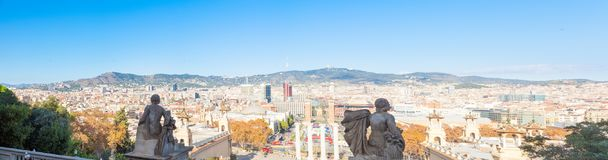 Barcelona City, Spain. View from Plaça de les Cascades. Barcelona City, Spain. View from the top of Plaça de les Cascades royalty free stock images