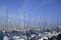 Barcelona city sport port Mediterranean sea Stock Images