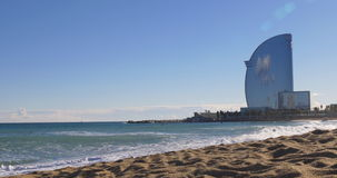 Barcelona city sunny day serfers ride hotel panorama 4k spain. Spain barcelona city sunny day serfers ride hotel panorama 4k stock video
