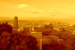 Barcelona city sunset skyline Royalty Free Stock Images