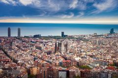Barcelona city. From the top view with sea and bach background, Barcelona, Spain stock photo