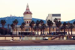 Barcelona city view. From sea at sunset, Spain royalty free stock photos