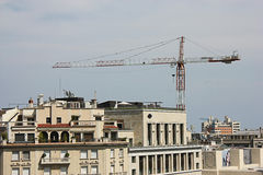 Barcelona city view: construction crane royalty free stock photos
