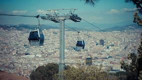 Barcelona city view, Spain. Cable car, Teleferic de Montjuic stock photos