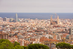 Barcelona cityscape. In the autumn royalty free stock photography