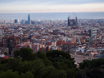 Barcelona cityscape. Aerial view of Barcelona cityscape, Sagrada Familia and Torre Agbar Royalty Free Stock Images