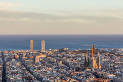 Barcelona cityscape from the Carmel`s bunkers Stock Photos