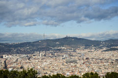 Barcelona cityscape. The citycenter of Barcelona, seen from Montjuic Royalty Free Stock Photography