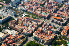 Barcelona cityscape from helicopter.  Spain Royalty Free Stock Image