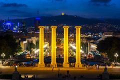 Barcelona cityscape from Montjuic hill at night, Spain stock image