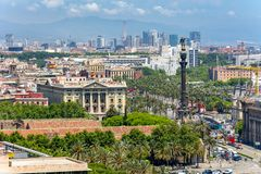 Barcelona cityscape from Montjuic hill, Spain royalty free stock image